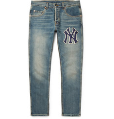 Gucci + New York Yankees Tapered Appliquéd Washed Stretch-Denim Jeans