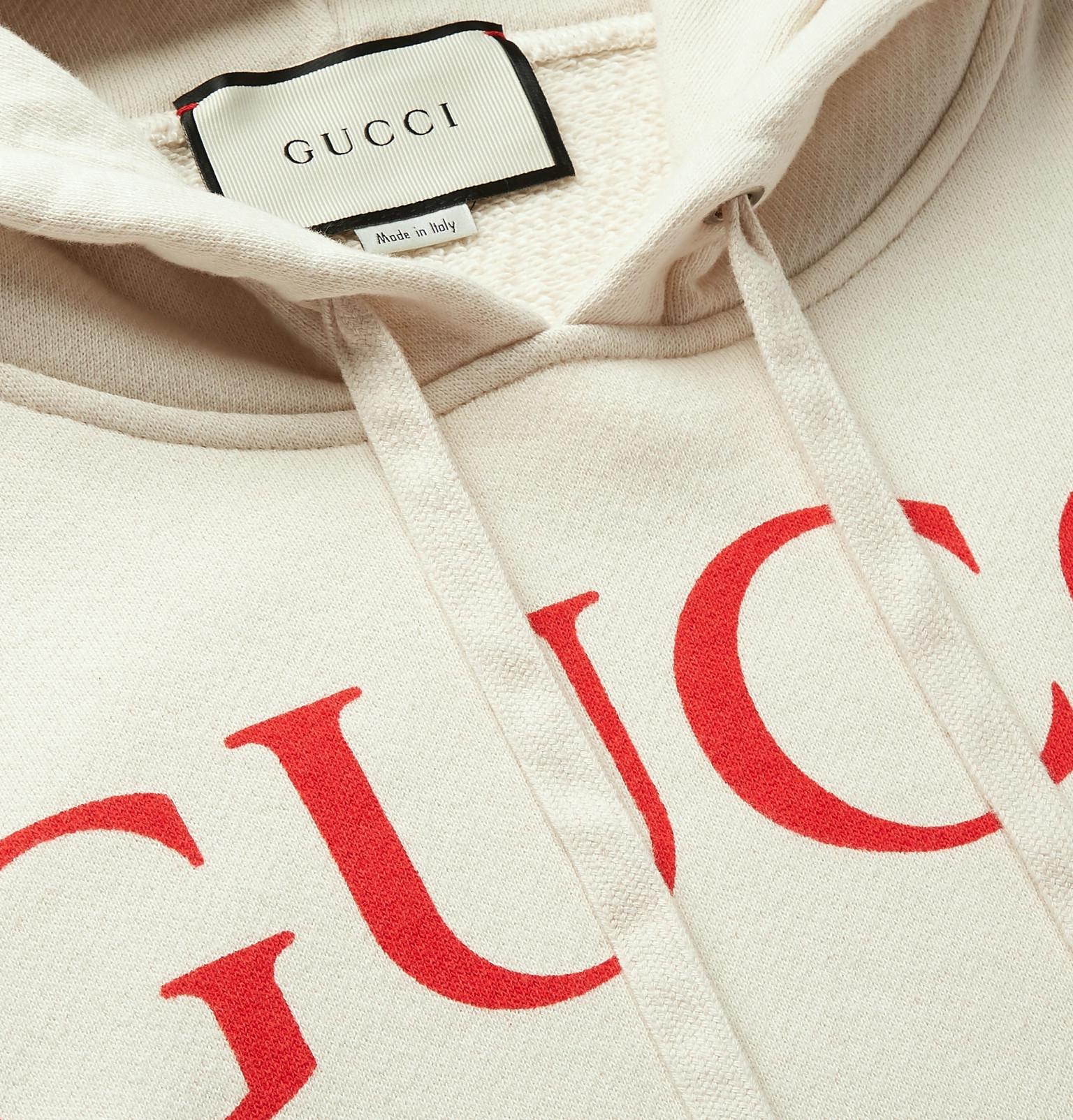 4c162f06d03 Gucci - Logo-Print Loopback Cotton-Jersey Hoodie