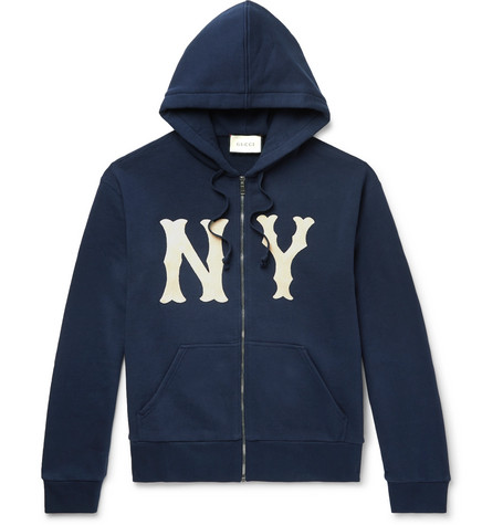 77187c109 Shoptagr | + New York Yankees Appliquéd Loopback Cotton Jersey Zip ...