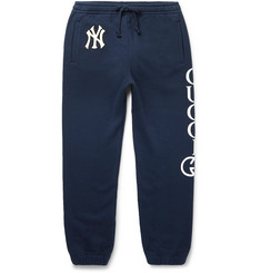 Gucci + New York Yankees Appliquéd Printed Loopback Cotton-Jersey Sweatpants