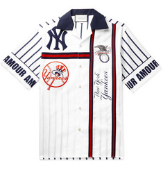 Gucci + New York Yankees Camp-Collar Appliquéd Striped Cotton-Poplin Shirt