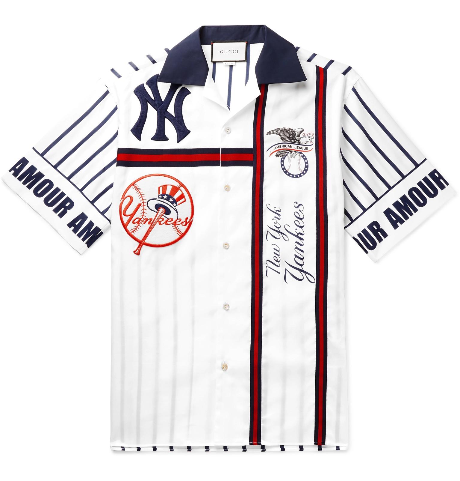 pretty nice 786b2 13695 Gucci - + New York Yankees Camp-Collar Appliquéd Striped ...