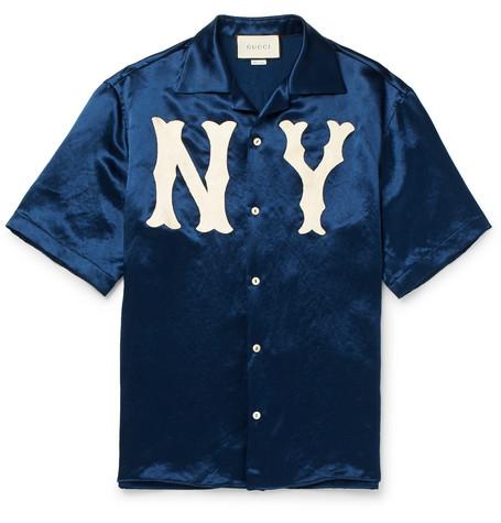 Camp-collar Appliquéd Satin Shirt