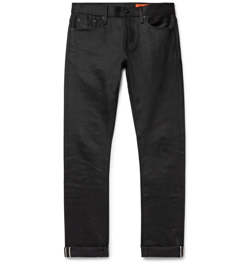 Jim Slim-fit Selvedge Stretch-denim Jeans - Black