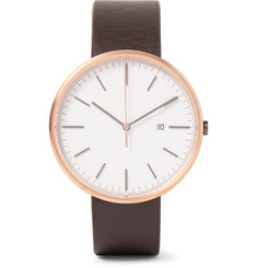 Uniform Wares - M40 Rose Gold PVD-Coated Stainless Steel and Leather Watch