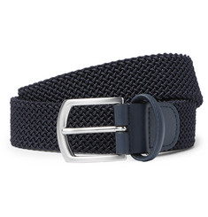Anderson's - 3.5cm Navy Leather-Trimmed Woven Elastic Belt
