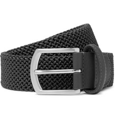 Anderson's 3.5cm Grey Leather-Trimmed Woven Elastic Belt