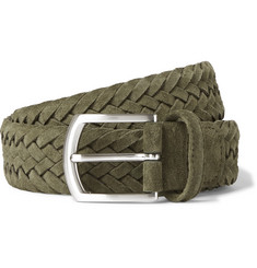 Anderson's 3.5cm Green Woven Suede Belt
