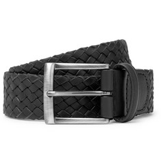 Anderson's - 4cm Black Woven Leather Belt