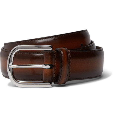 3.5cm Brown Burnished-leather Belt