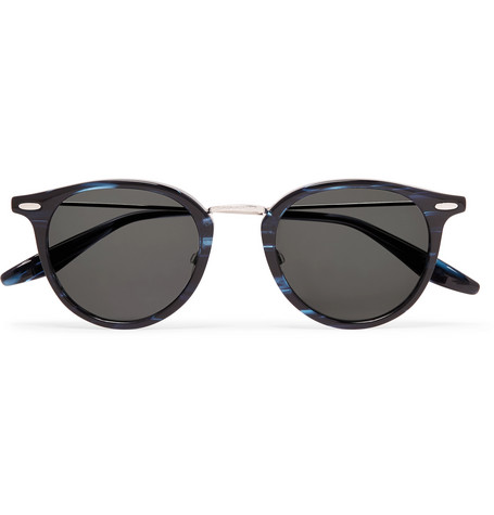 9f8a90153b Barton Perreira Cambridge Round-Frame Acetate And Titanium Sunglasses In  Navy