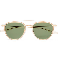 Barton Perreira Courtier D-Frame Acetate and Gold-Tone Titanium Sunglasses