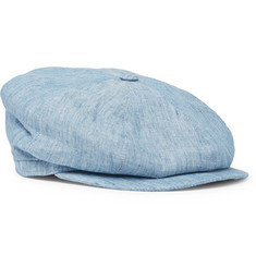 Lock & Co Hatters Tremelo Linen-Chambray Flat Cap