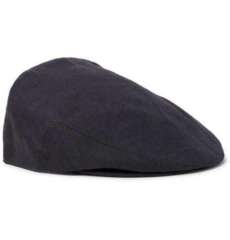 Lock & Co Hatters – Glen Linen Flat Cap – Midnight blue