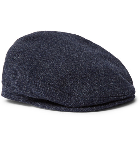 LOCK & CO HATTERS Oslo Wool-Tweed Flat Cap in Blue