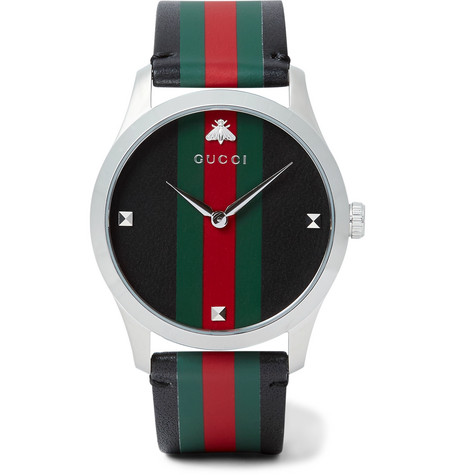 d5ad405f50f Gucci - G-Timeless 38mm Stainless Steel and Striped Leather Watch