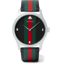 Gucci - G-Timeless 38mm Stainless Steel and Striped Leather Watch