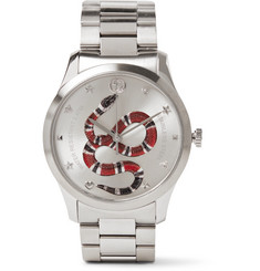 Gucci - G-Timeless Snake-Dial 38mm Stainless Steel Watch