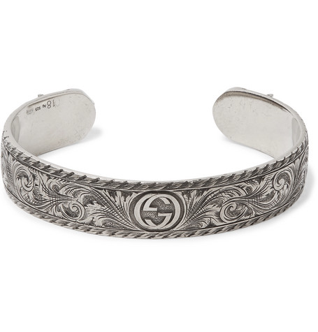 GUCCI ENGRAVED STERLING SILVER CUFF