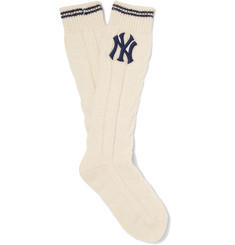 Gucci - + New York Yankees Appliquéd Cable-Knit Wool-Blend Socks