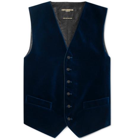 FAVOURBROOK Navy Slim-Fit Grosgrain-Trimmed Cotton-Velvet Waistcoat - Blue