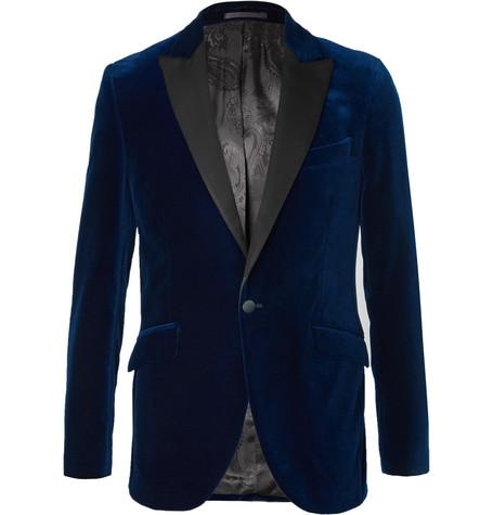 FAVOURBROOK Blue Slim-Fit Grosgrain-Trimmed Cotton-Velvet Tuxedo Jacket - Blue
