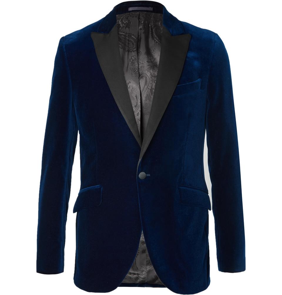 Blue Slim-fit Grosgrain-trimmed Cotton-velvet Tuxedo Jacket - Blue