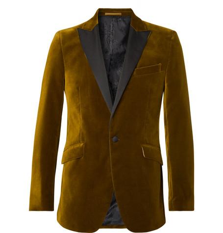 FAVOURBROOK Saffron Slim-Fit Grosgrain-Trimmed Cotton-Velvet Tuxedo Jacket in Mustard