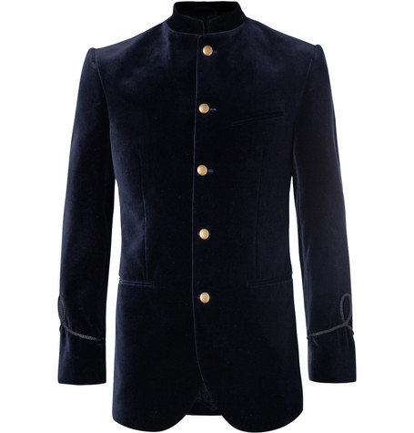 Midnight Blue Slim Fit Mandarin Collar Cotton Velvet Tuxedo Jacket by Favourbrook