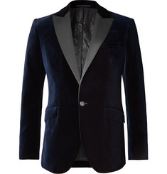 Favourbrook Navy Slim-Fit Grosgrain-Trimmed Cotton-Velvet Tuxedo Jacket
