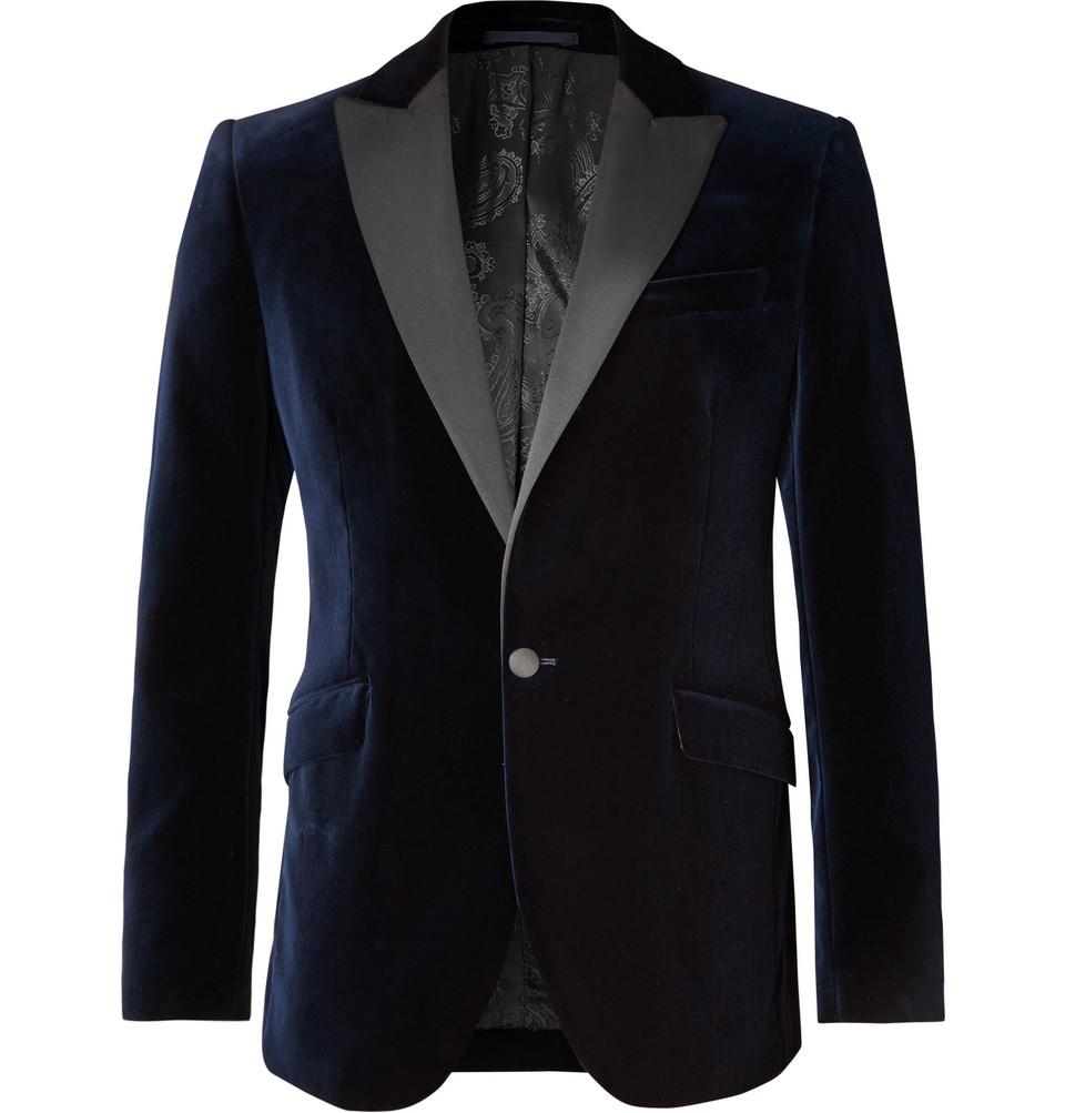 Navy Slim-fit Grosgrain-trimmed Cotton-velvet Tuxedo Jacket - Navy