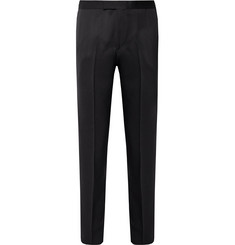 Favourbrook - Midnight-Blue Barathea Slim-Fit Grosgrain-Trimmed Wool Tuxedo Trousers