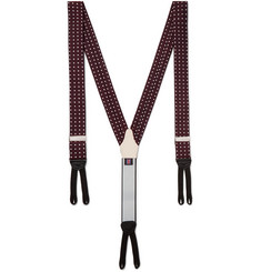Favourbrook - Leather-Trimmed Polka-Dot Silk Braces