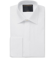 Favourbrook - White Bib-Front Double-Cuff Cotton-Poplin Tuxedo Shirt