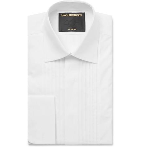 FAVOURBROOK White Cutaway-Collar Double-Cuff Cotton Tuxedo Shirt - White