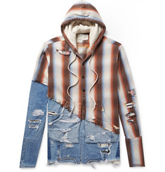 Greg Lauren Panelled Distressed Denim and Striped Cotton-Twill Hoodie