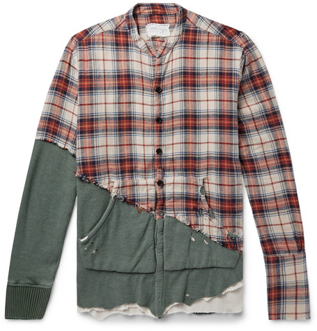 Grandad Collar Panelled Distressed Cotton Shirt by Greg Lauren