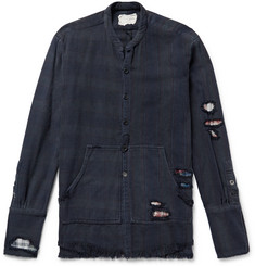 Greg Lauren - Slim-Fit Distressed Patchwork Striped and Checked Cotton-Twill Shirt