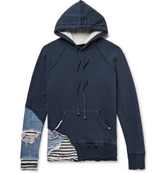 Greg Lauren Slim-Fit Distressed Denim and Stripe-Panelled Loopback Cotton-Jersey Hoodie