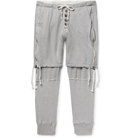 Tapered Zip Detailed Loopback Cotton Jersey Sweatpants by Greg Lauren