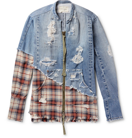 Grandad Collar Panelled Distressed Denim And Checked Cotton Twill Shirt by Greg Lauren