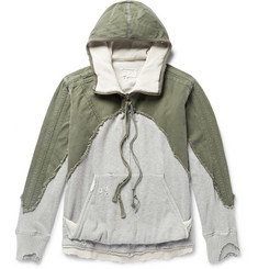 Greg Lauren Distressed Panelled Canvas and Loopback Cotton-Jersey Hoodie