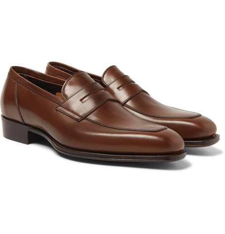 + George Cleverley Newport Leather Penny Loafers - Dark brown