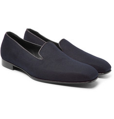 Kingsman - + George Cleverley Windsor Leather-Trimmed Cashmere Slippers