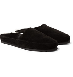Mulo - Shearling-Lined Suede Backless Loafers
