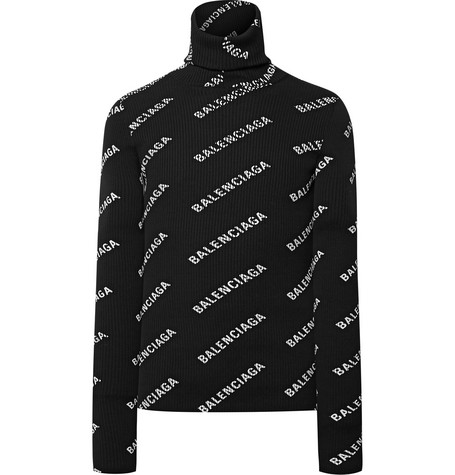 Slim Fit Logo Print Ribbed Knit Hooded Rollneck Sweater by Balenciaga