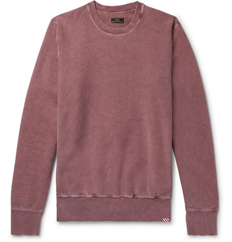 FREEMANS SPORTING CLUB Garment-Dyed Fleece-Back Cotton-Jersey Sweatshirt in Burgundy
