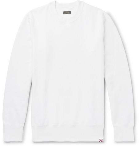 FREEMANS SPORTING CLUB Fleece-Back Cotton-Jersey Sweatshirt in White