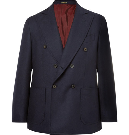 RUBINACCI Navy Double-Breasted Unstructured Wool And Cashmere-Blend Blazer