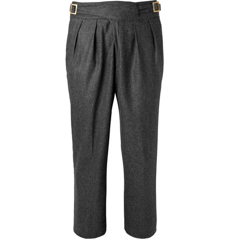 RUBINACCI Manny Tapered Pleated Mélange Stretch-Wool And Cashmere-Blend Trousers in Charcoal